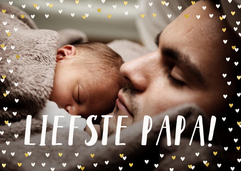 Vaderdag kaarten - Vaderdagkaart met goudlook hartjeskader en grote foto
