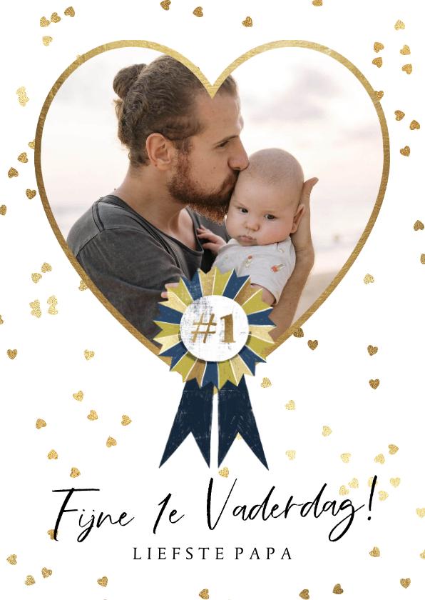 Vaderdag kaarten - Vaderdagkaart met grote foto in hart van goud en lint
