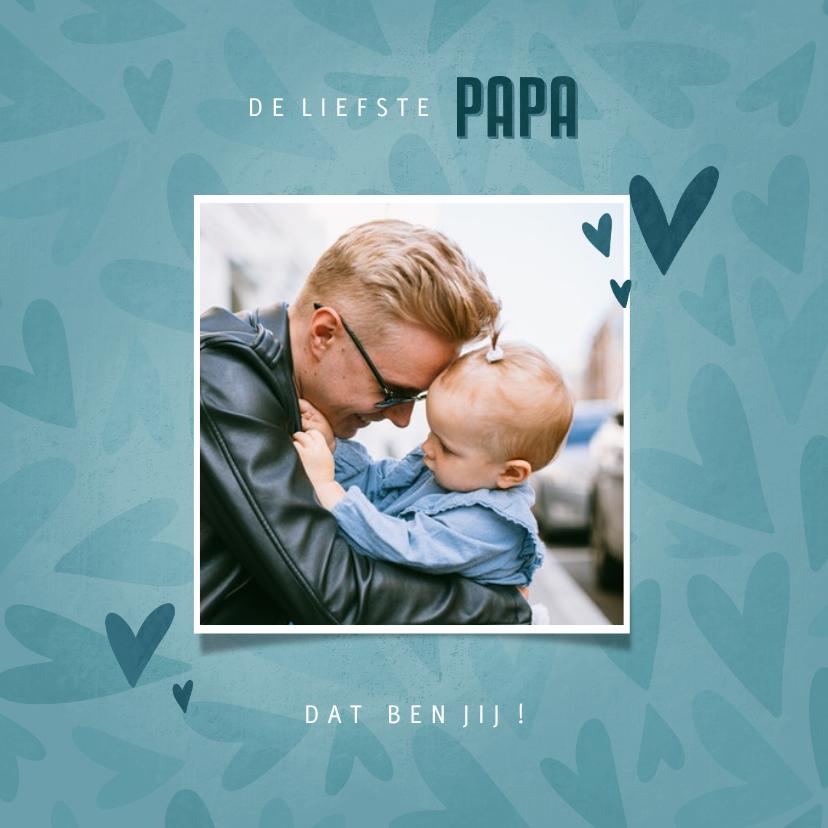 Vaderdag kaarten - Vaderdagkaart met hartjesachtergrond en foto