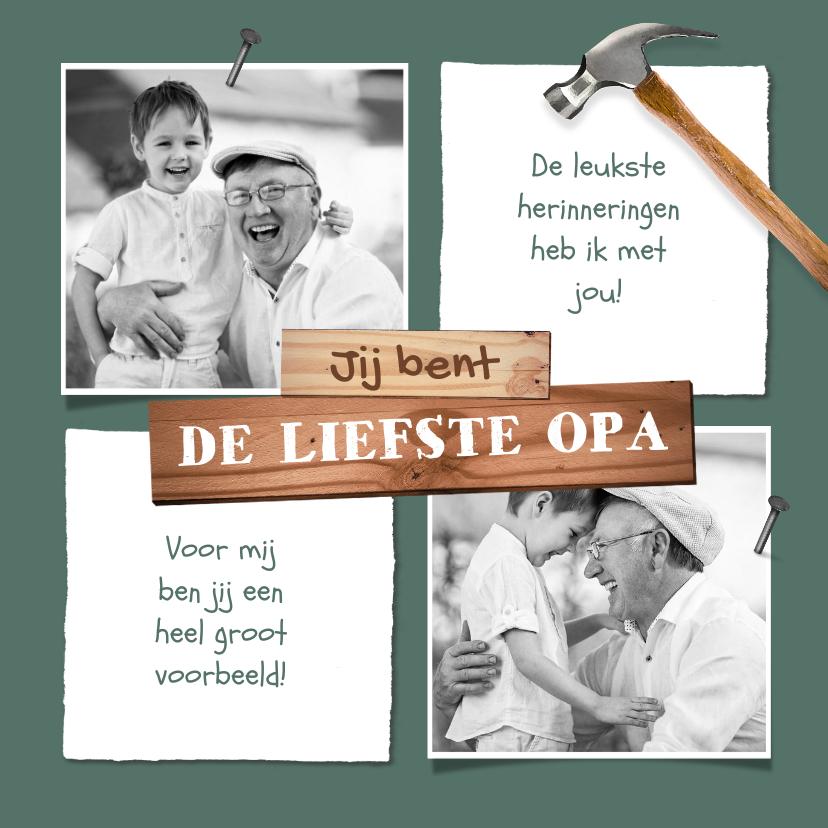 Vaderdag kaarten - Vaderdagkaart opa klussen hout stoer foto's
