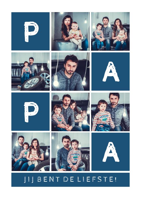 Vaderdag kaarten - Vaderdagkaart 'PAPA' fotocollage aanpasbare kleur