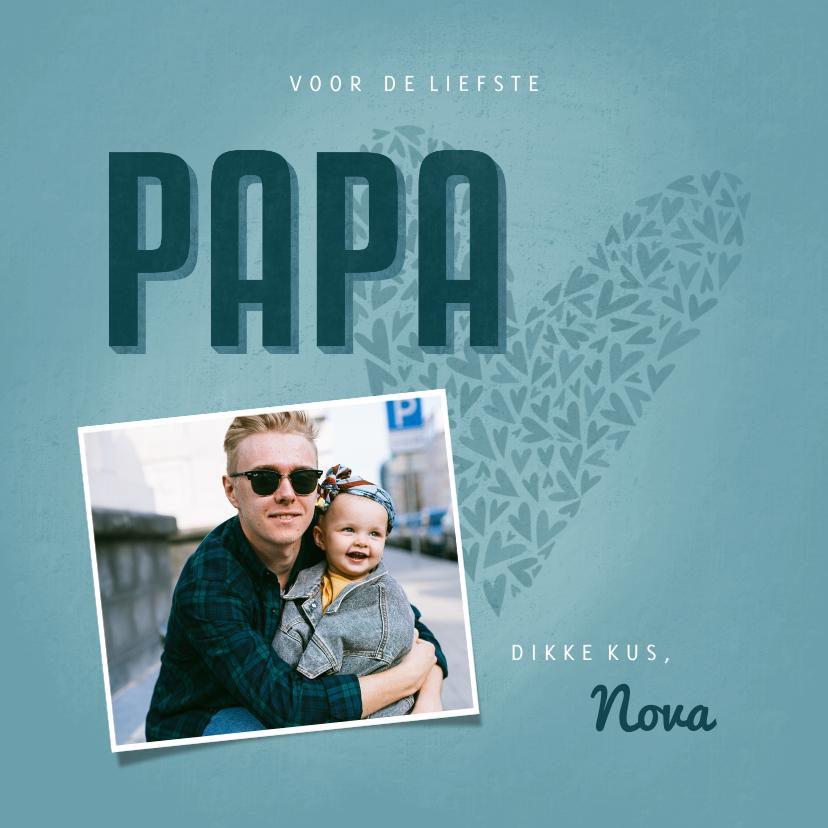 Vaderdag kaarten - Vaderdagkaart PAPA met hart, foto en naam