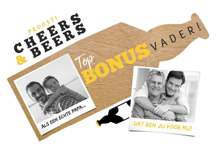 Vaderdag kaarten - Vaderdagkaart top bonusvader met biertjes en foto's