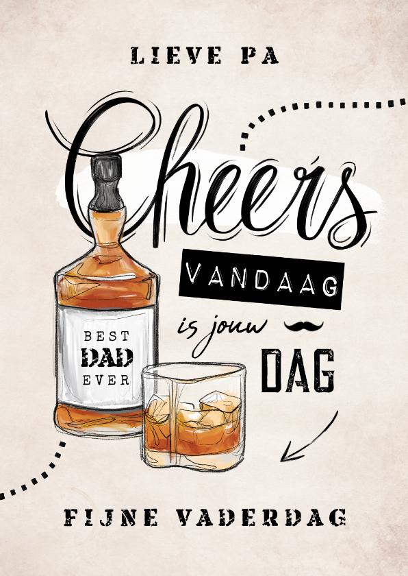 Vaderdag kaarten - Vaderdagkaart vintage stoer whiskey chill cheers