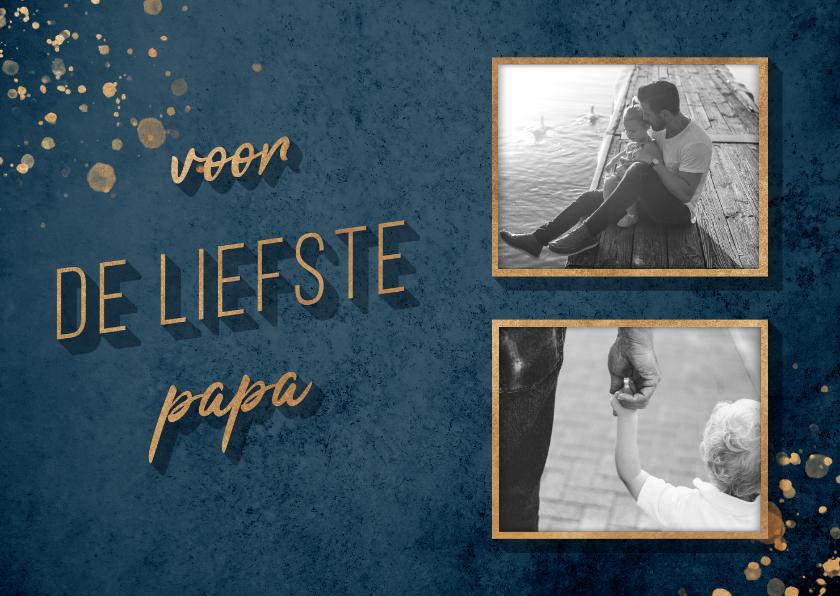 Vaderdag kaarten - Vaderdagkaart 'voor de liefste papa' goud met foto's
