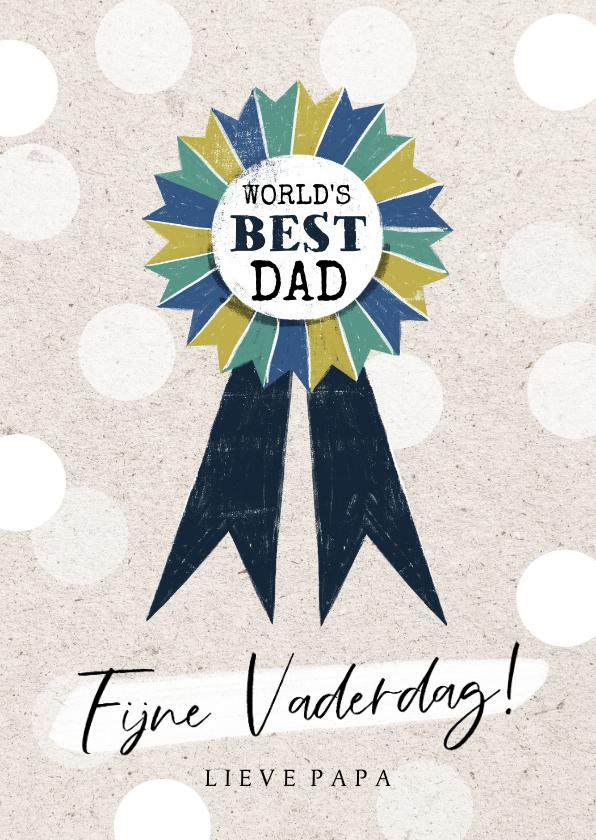 Vaderdag kaarten - Vaderdagkaart 'World's Best Dad' met kleurrijk lint
