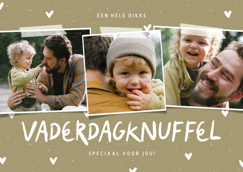 Vaderdag kaarten - Vaderdagknuffel fotocollage met hartjes aanpasbaar