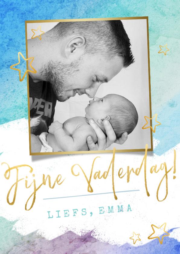 Vaderdag kaarten - Vrolijke waterverf vaderdagkaart met foto en gouden letters