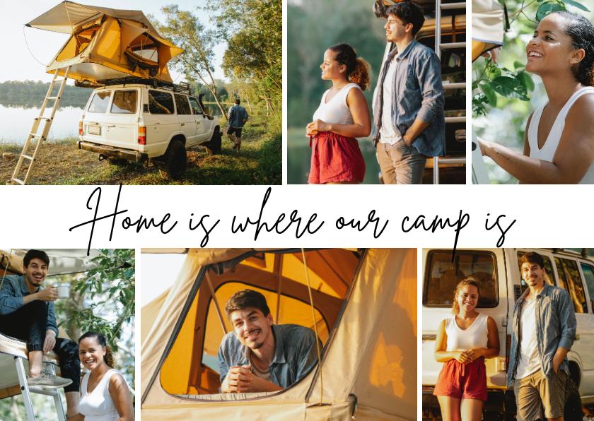 Vakantiekaarten - Ansichtkaart fotocollage 'Home is where our camp is'
