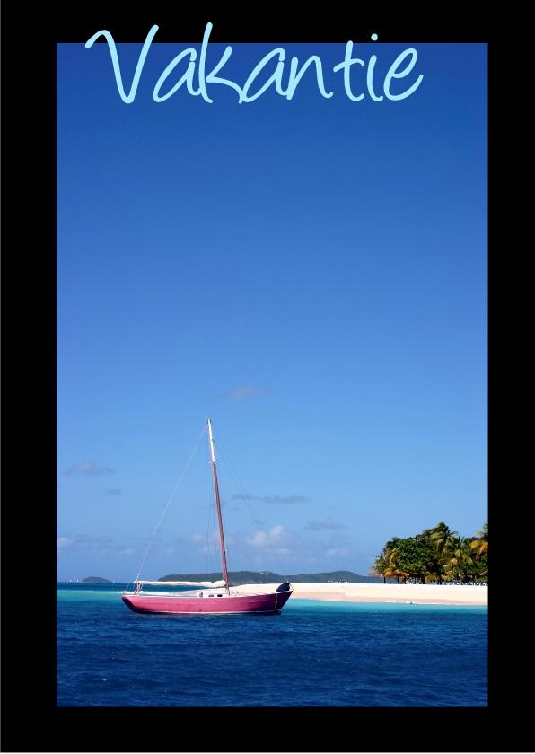 Vakantiekaarten - anzichtkaart, zeilboot op strand