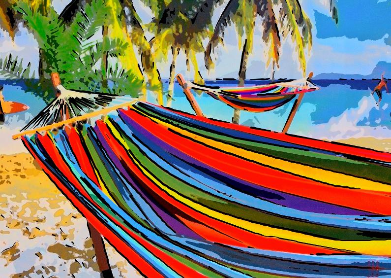 Vakantiekaarten - Beach Fun - Hangmat