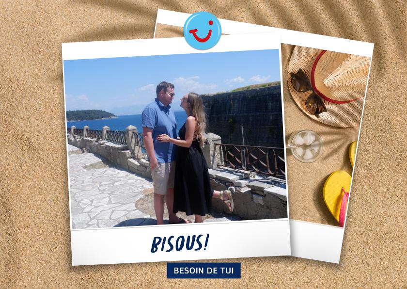 Vakantiekaarten - Carte de vacances plage avec bisous de et votre photo