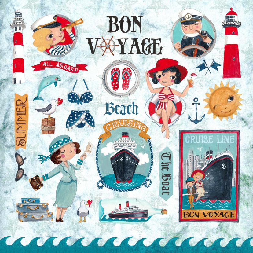 Vakantiekaarten - Fijne vakantie strand en boot vakantie in rood wit blauw