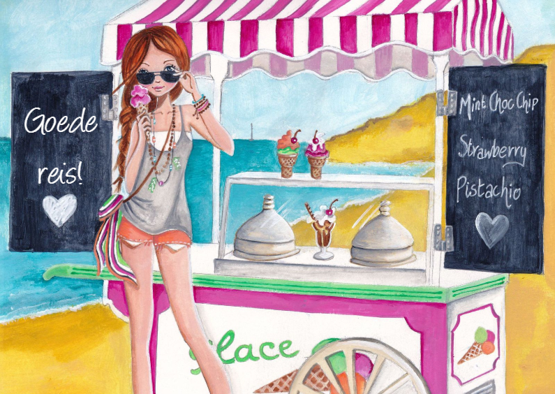 Vakantiekaarten - Goede Reis Fijne Vakantie Illustratie