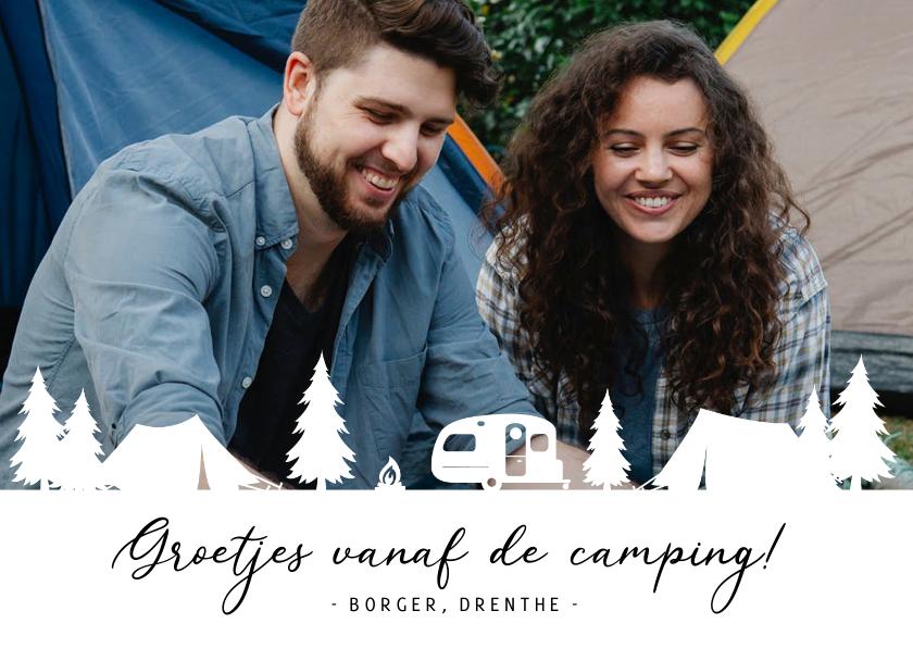 Vakantiekaarten - Grappige camping vakantiekaart met foto en tentjes