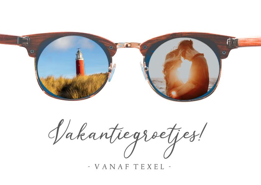 Vakantiekaarten - Grappige vakantiekaart met vakantiefoto's in een zonnebril