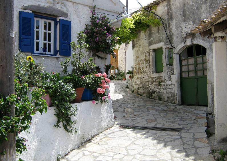 Vakantiekaarten - Grieks straatje
