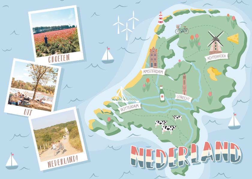 Vakantiekaarten - Groeten uit Nederland met grappige landkaart en fotocollage