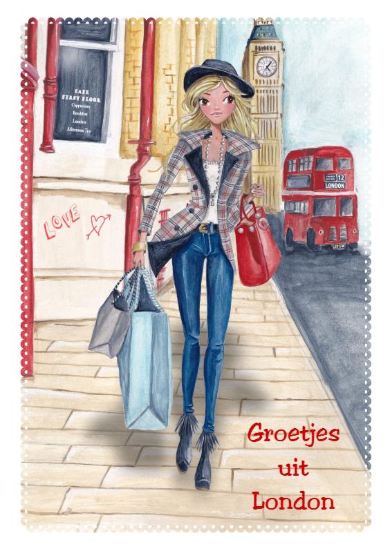 Vakantiekaarten - Groetjes uit London Illustratie meisje