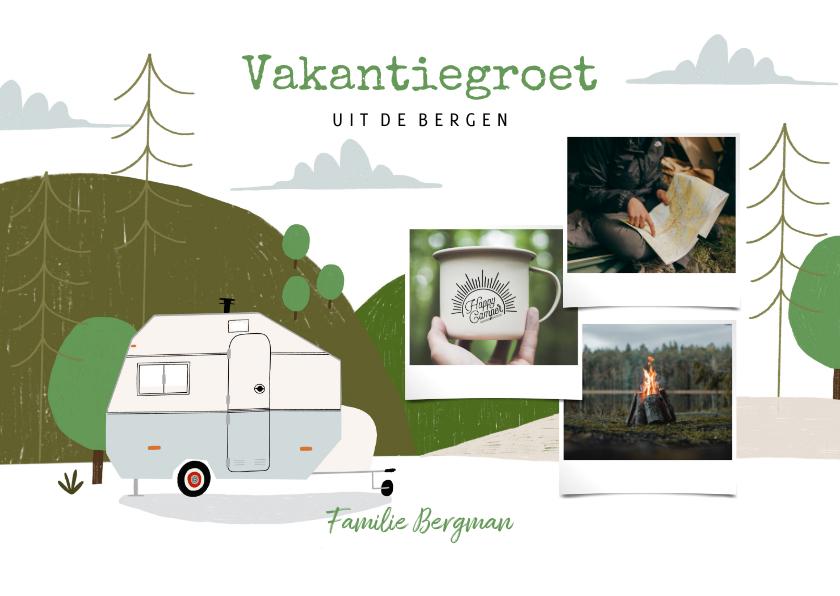 Vakantiekaarten - Hippe vakantiekaart kamperen in de bergen en fotocollage