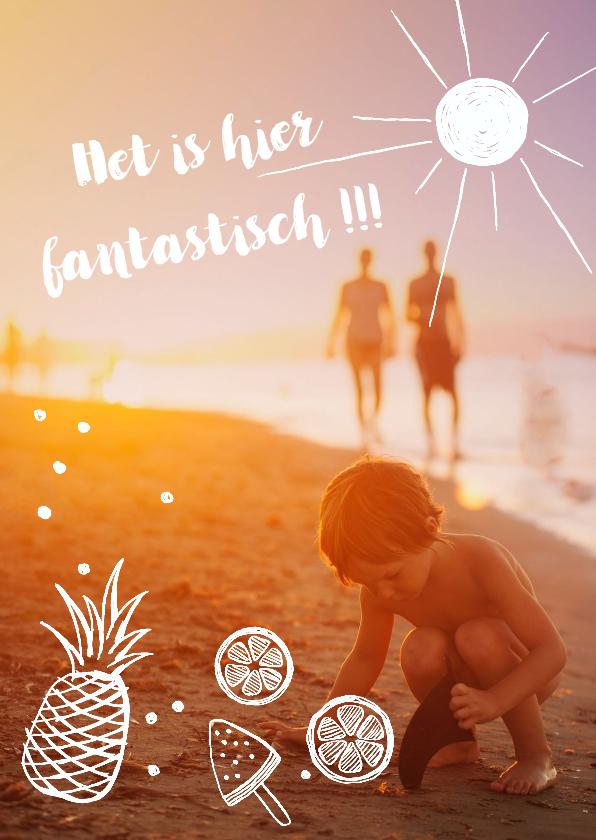 Vakantiekaarten - Hippe vakantiekaart met foto en zomerse tekeningen.