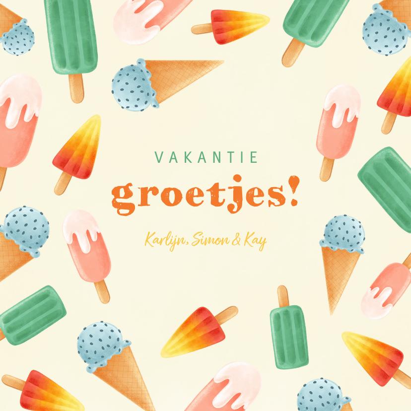 Vakantiekaarten - Hippe vakantiekaart met ijsjes en vakantie groetjes