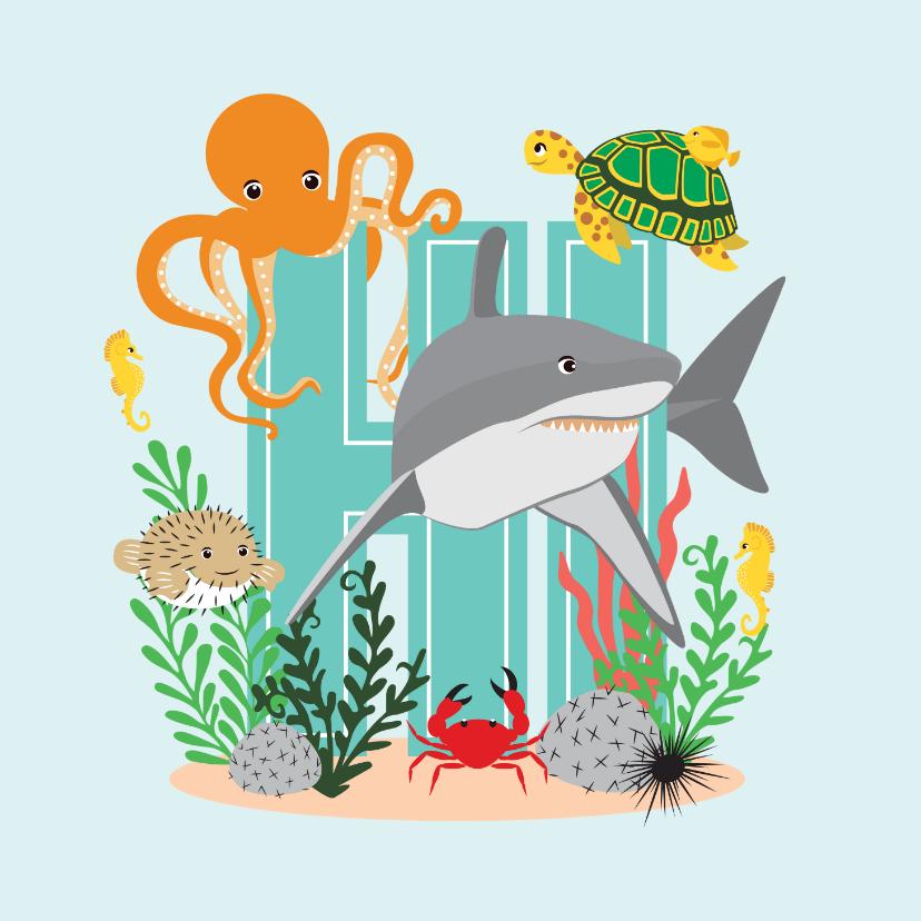 Vakantiekaarten - Kaartje met stoere dieren uit de zee die hi zeggen