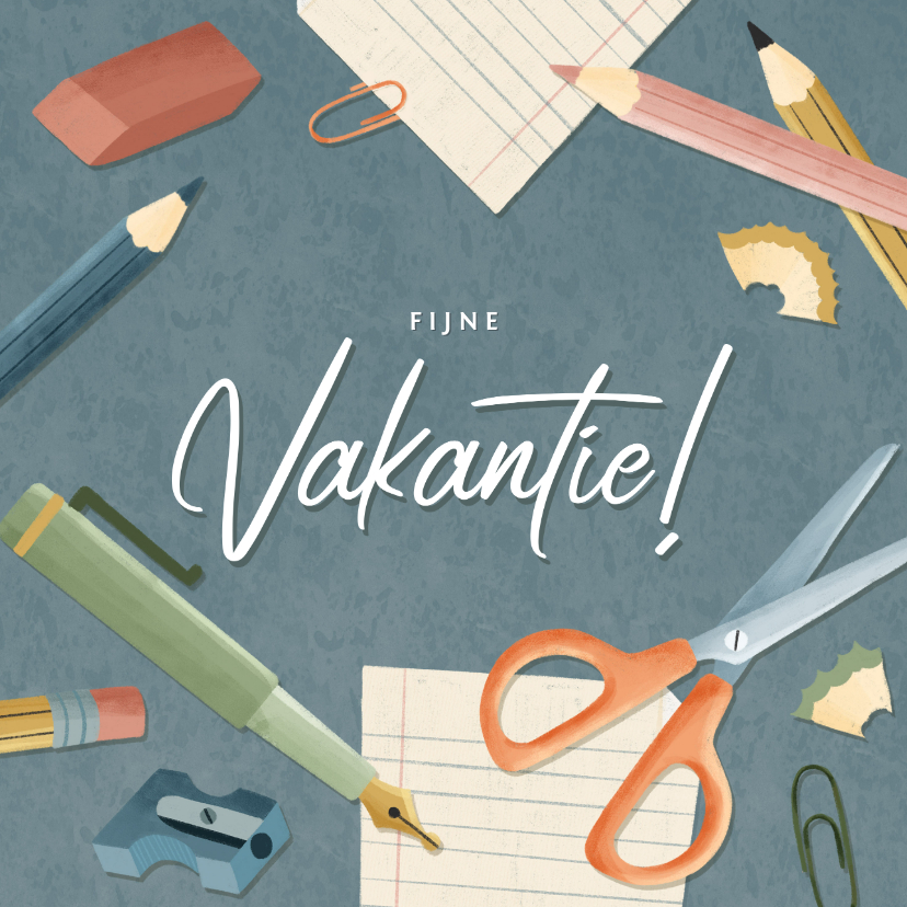 Vakantiekaarten - Leuke vakantiekaart fijn vakantie schoolspullen & typografie