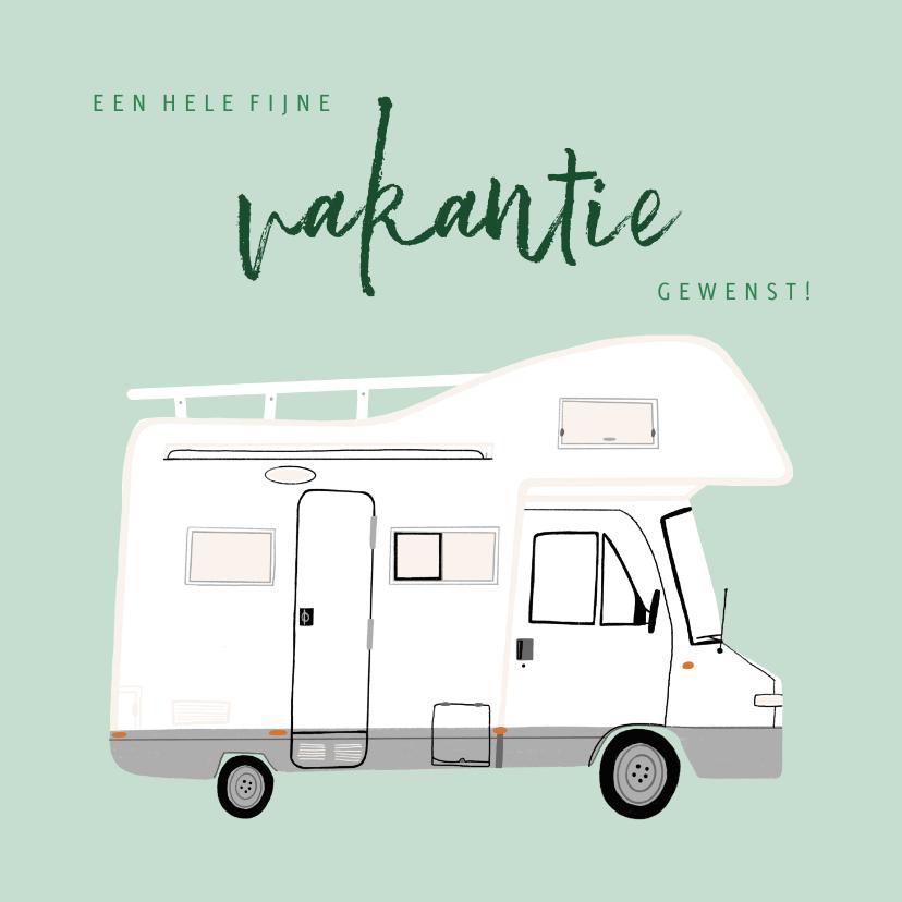 Vakantiekaarten - Leuke vakantiekaart fijne vakantie met camper illustratie