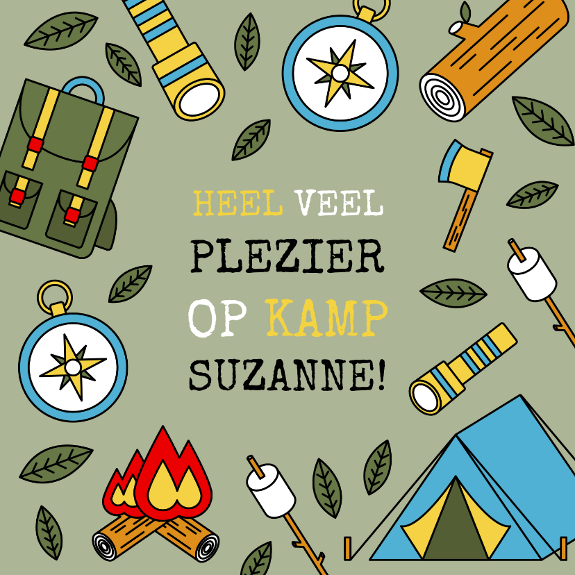 Vakantiekaarten - Leuke vakantiekaart 'veel plezier op kamp' kampeerspullen