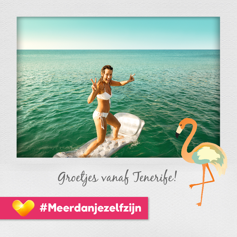 Vakantiekaarten - Neckermann vakantiekaart met flamingo's en eigen foto