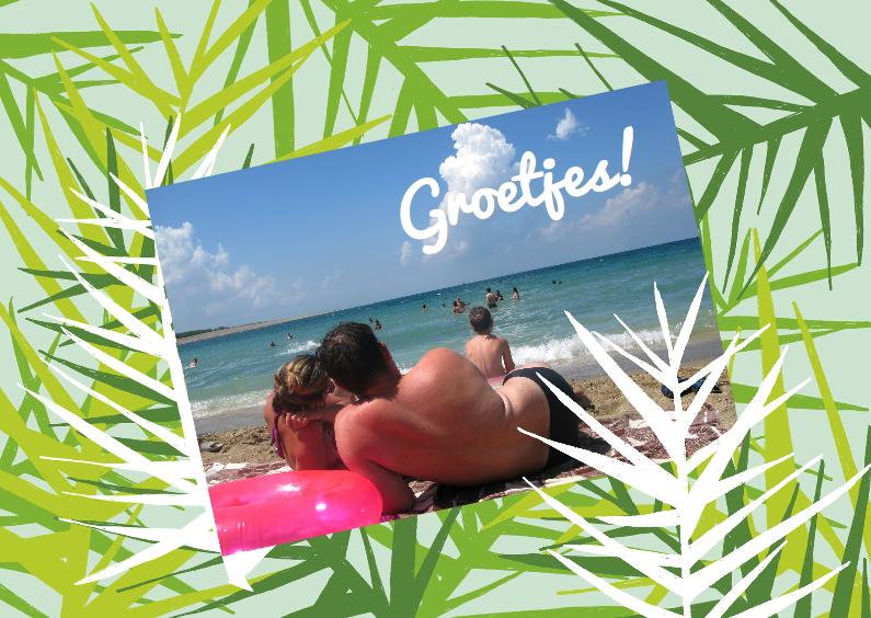 Vakantiekaarten - Palmboom bladeren vakantiekaart