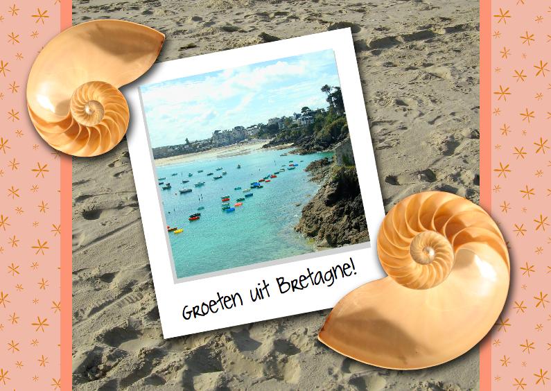 Vakantiekaarten - Schelpen op strand