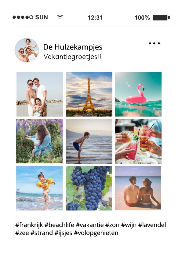 Vakantiekaarten - Social Media tijdlijn fotocollage vakantiekaart