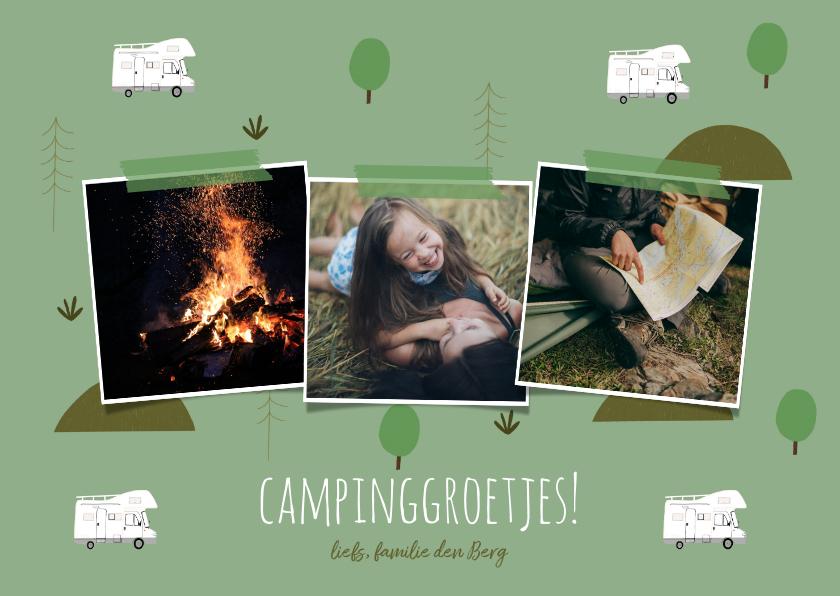 Vakantiekaarten - Trendy vakantiekaart camper en natuur elementen fotocollage
