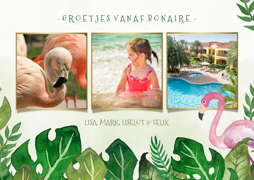 Vakantiekaarten - Tropische fotocollage vakantiekaart met bladeren en flamingo