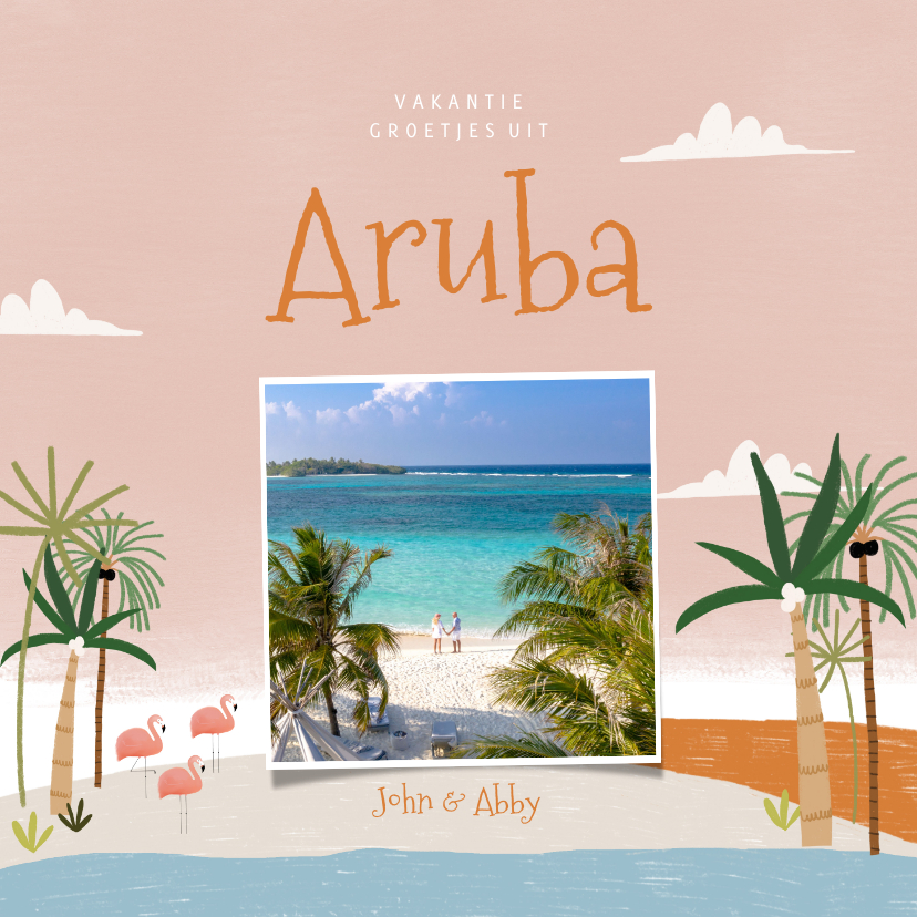Vakantiekaarten - Tropische vakantiekaart Aruba flamingo's en palmbomen