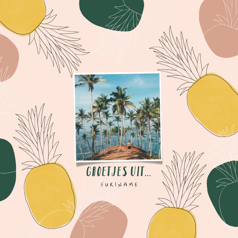 Vakantiekaarten - Tropische vakantiekaart groetjes uit met ananassen en foto