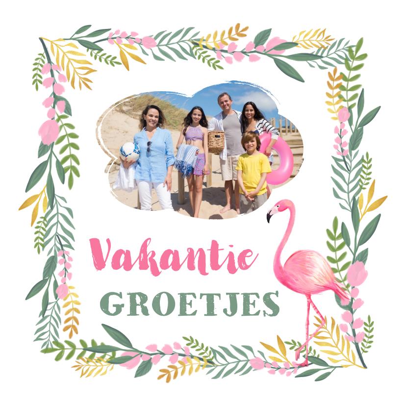Vakantiekaarten - Tropische vakantiekaart met eigen foto flamingo