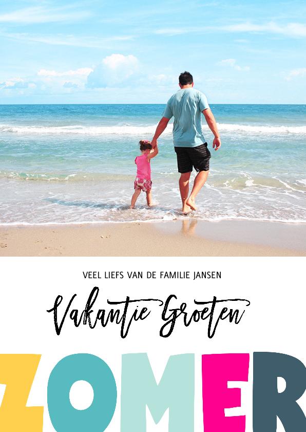 Vakantiekaarten - Vakantie groeten zomer letters