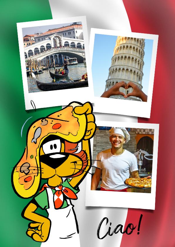 Vakantiekaarten - Vakantie Loeki in Italië pizza - A