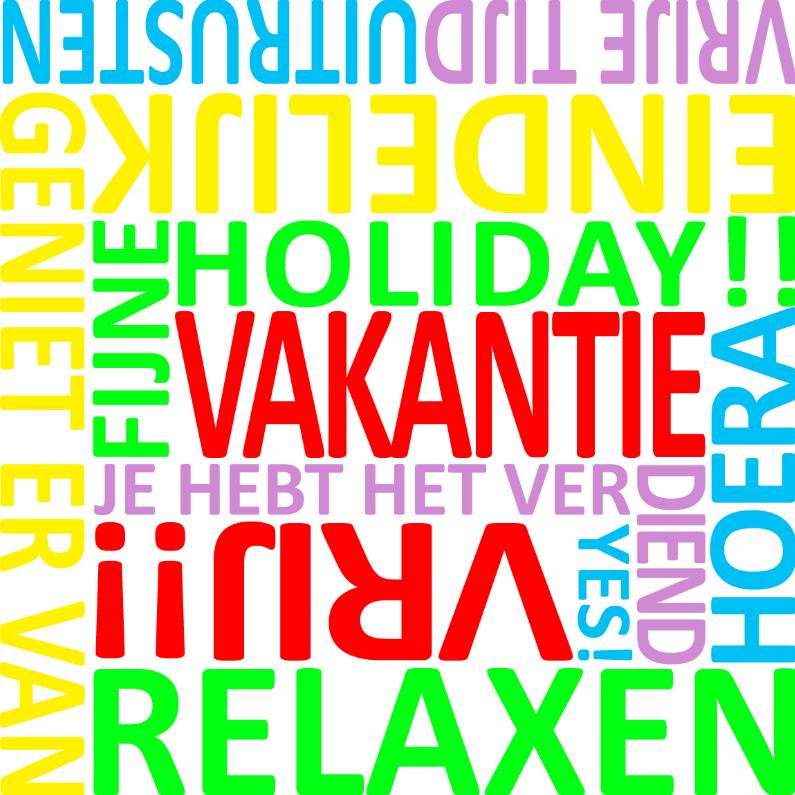 Vakantiekaarten - Vakantie woordenkaart
