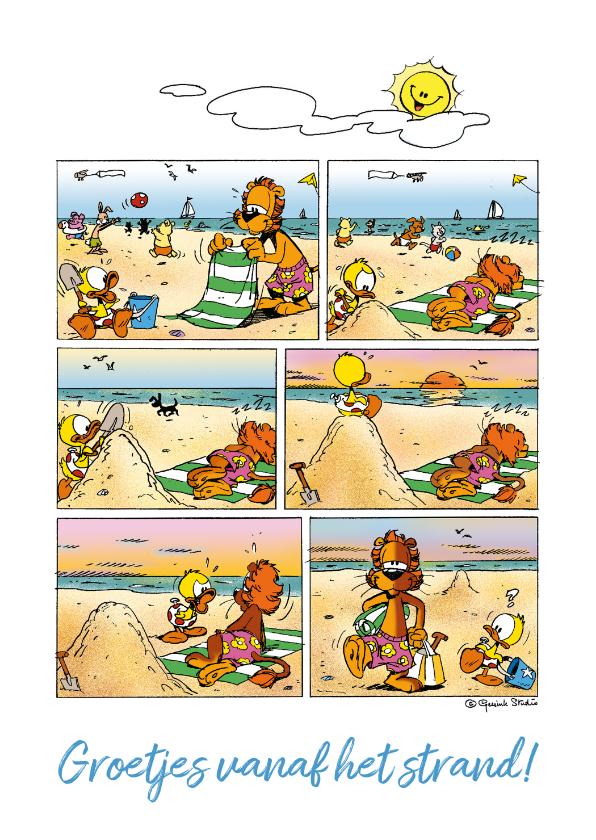 Vakantiekaarten - Vakantiegroet strip zonnebrand strand - A
