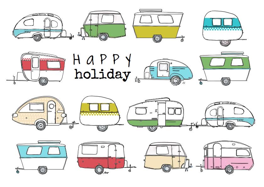 Vakantiekaarten - Vakantiekaart caravan retro AV