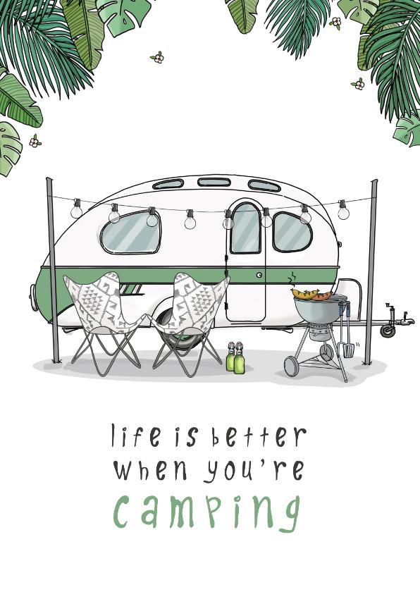 Vakantiekaarten - Vakantiekaart Caravan retro groen