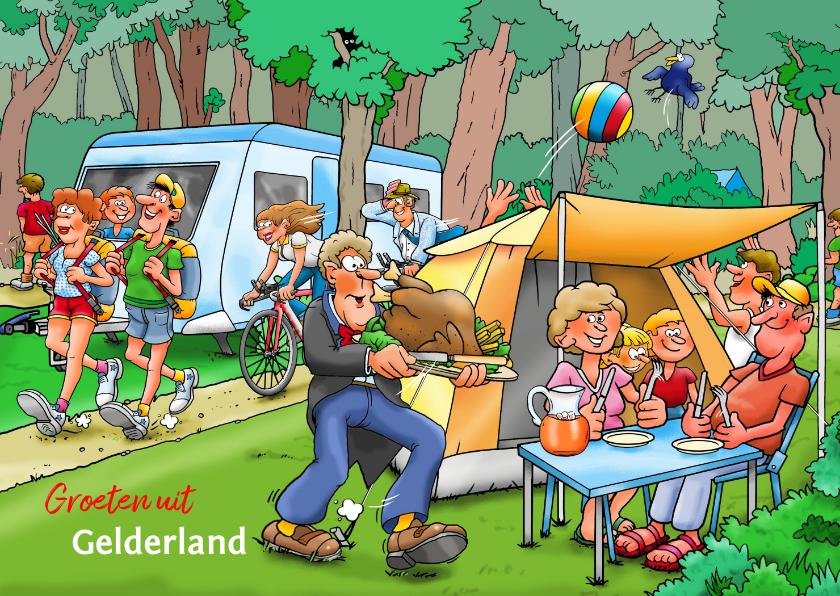 Vakantiekaarten - Vakantiekaart familie met tent en caravan op camping