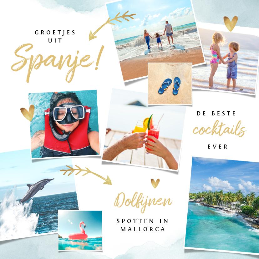 Vakantiekaarten - Vakantiekaart fotocollage waterverf en goudlook pijltjes