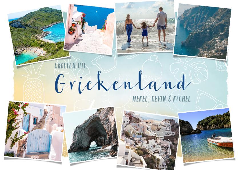 Vakantiekaarten - Vakantiekaart Griekenland fotocollage met zomerse doodles