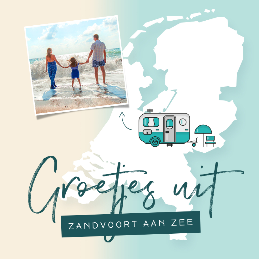 Vakantiekaarten - Vakantiekaart groetjes uit nederland kamperen camper foto