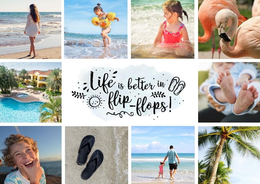 Vakantiekaarten - Vakantiekaart hippe fotocollage met 10 foto's
